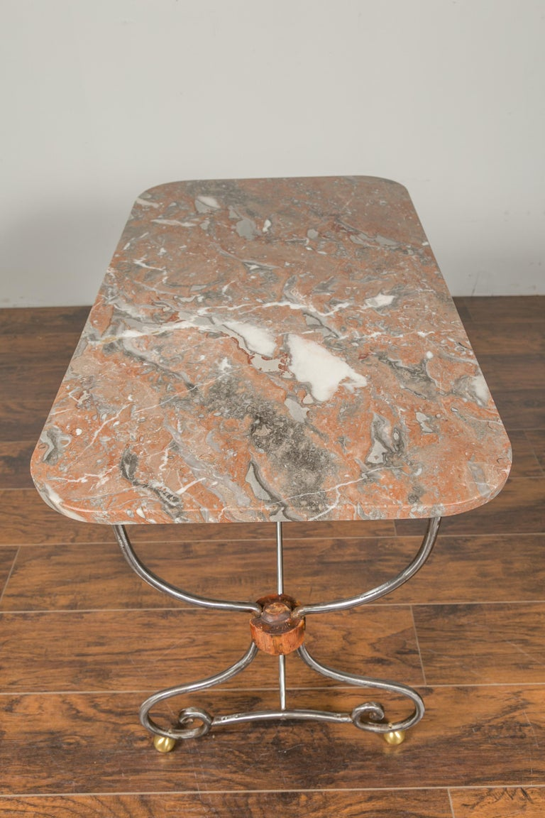 1900s French Steel Console Table with Marble Top and Petite Brass Ball Feet For Sale 7