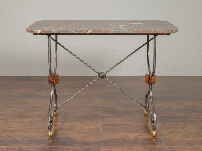 1900s French Steel Console Table with Marble Top and Petite Brass Ball Feet In Good Condition For Sale In Atlanta, GA
