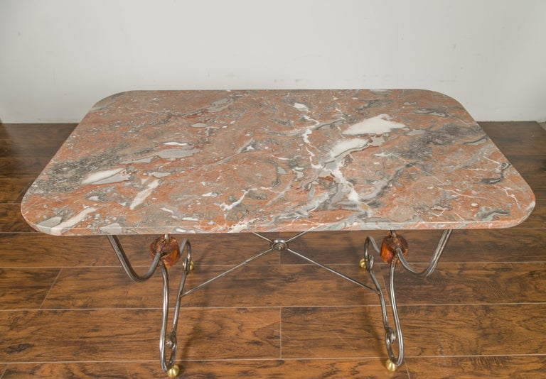 20th Century 1900s French Steel Console Table with Marble Top and Petite Brass Ball Feet For Sale