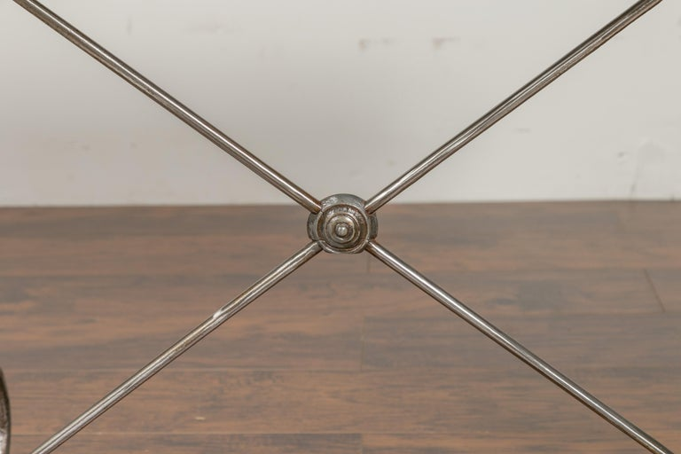 1900s French Steel Console Table with Marble Top and Petite Brass Ball Feet For Sale 1