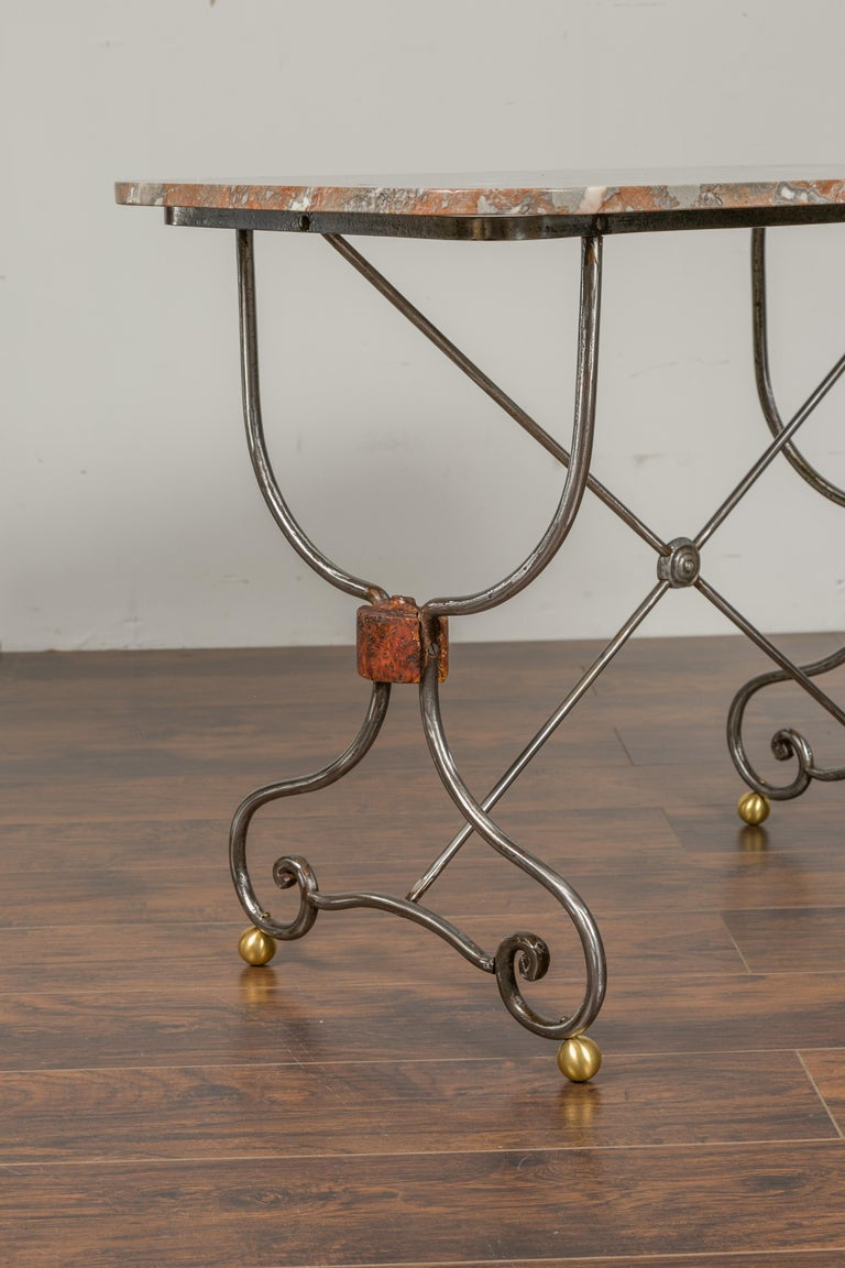 1900s French Steel Console Table with Marble Top and Petite Brass Ball Feet For Sale 2