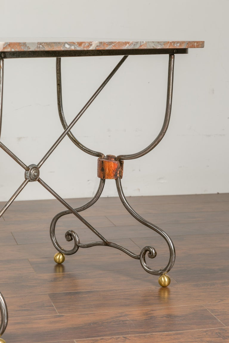 1900s French Steel Console Table with Marble Top and Petite Brass Ball Feet For Sale 3