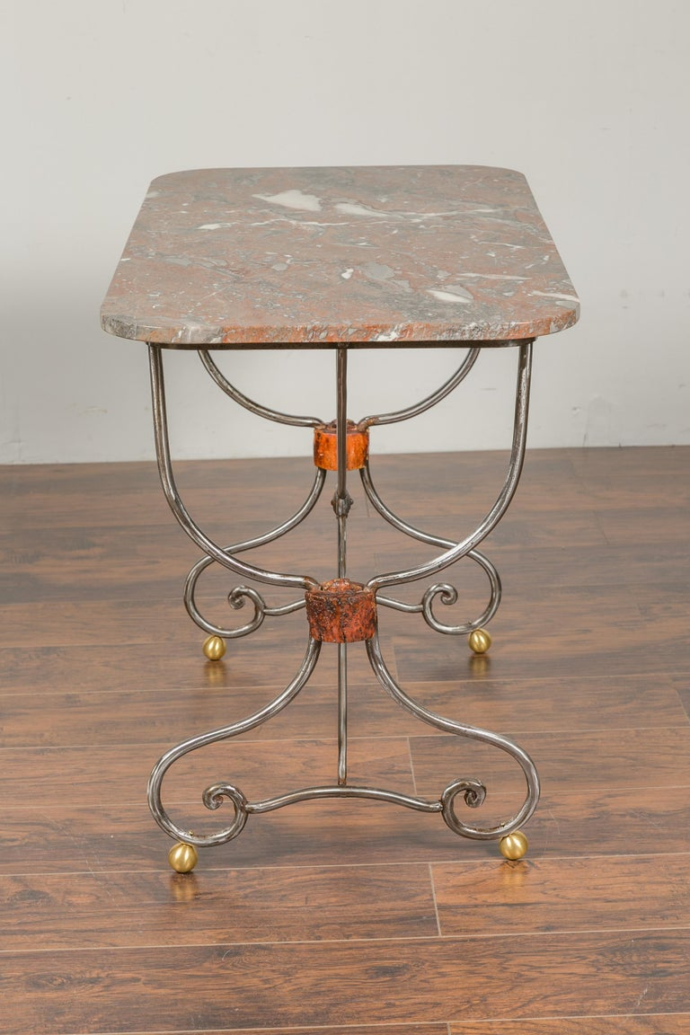 1900s French Steel Console Table with Marble Top and Petite Brass Ball Feet For Sale 4