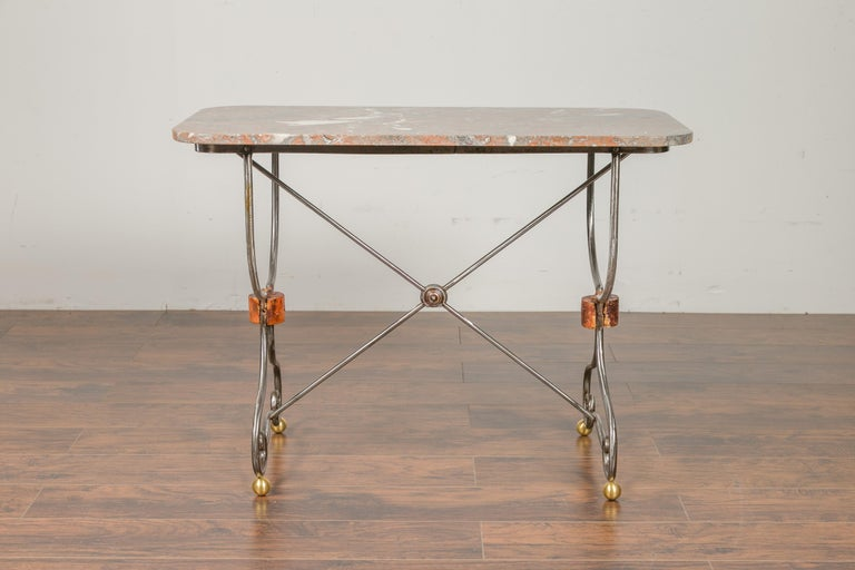 1900s French Steel Console Table with Marble Top and Petite Brass Ball Feet For Sale 5