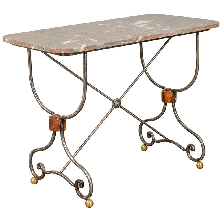 1900s French Steel Console Table with Marble Top and Petite Brass Ball Feet For Sale