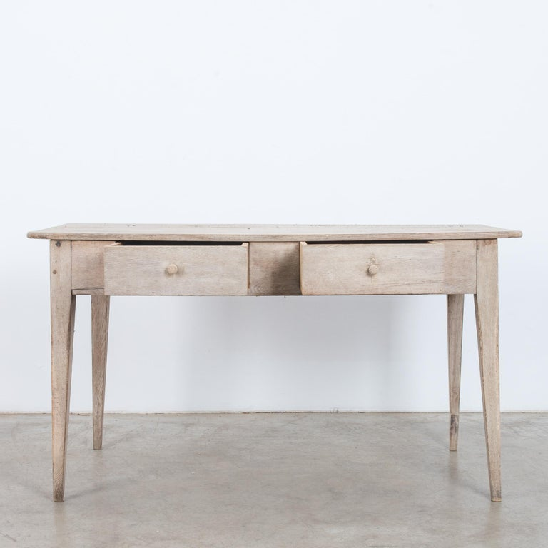French Provincial 1900s French Two-Drawer Oak Table For Sale
