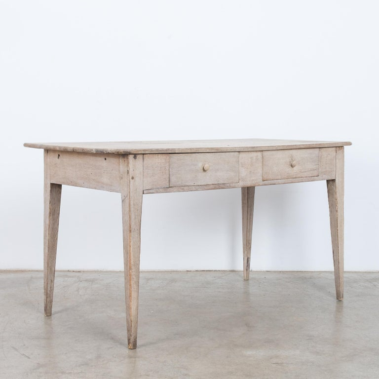 Bleached 1900s French Two-Drawer Oak Table For Sale