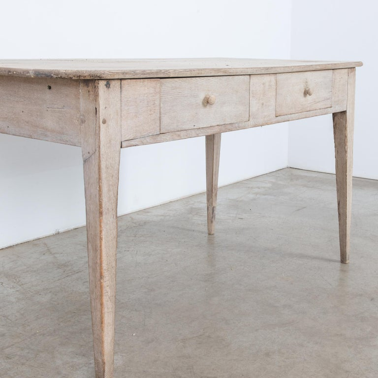 19th Century 1900s French Two-Drawer Oak Table For Sale