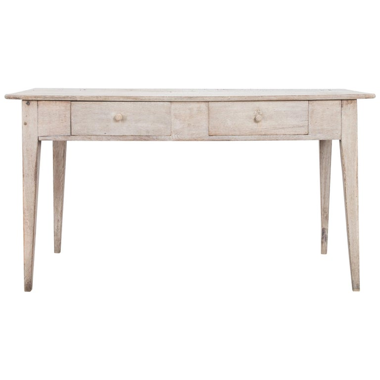 1900s French Two-Drawer Oak Table For Sale