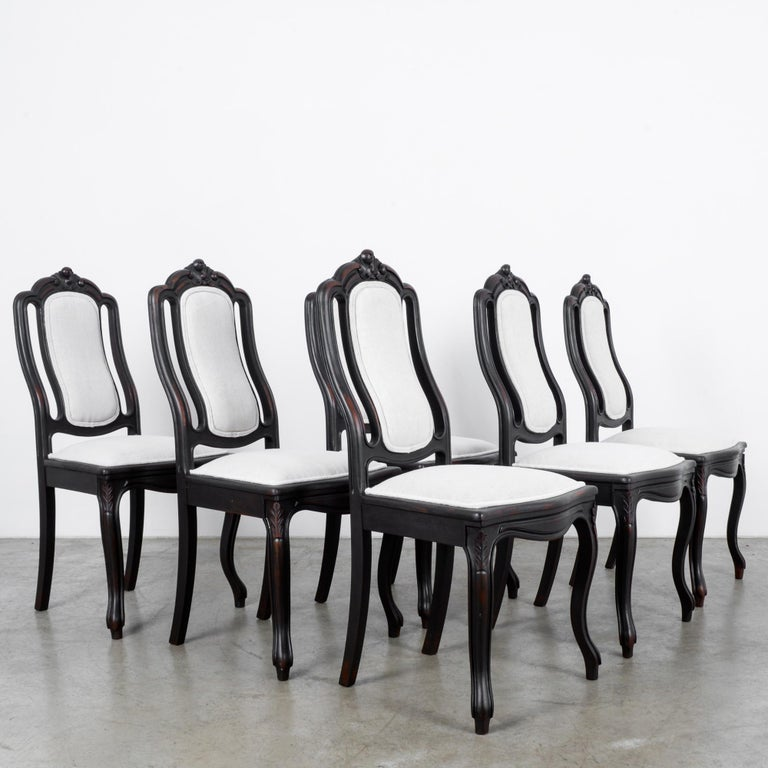 French Provincial 1900s French Upholstered Dining Chairs, Set of Six For Sale