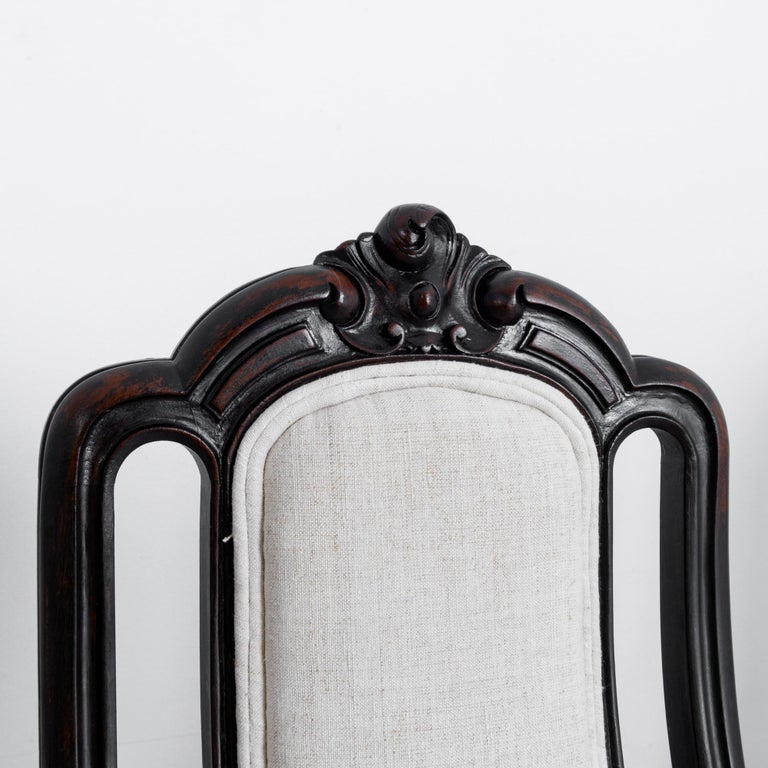 Fabric 1900s French Upholstered Dining Chairs, Set of Six For Sale