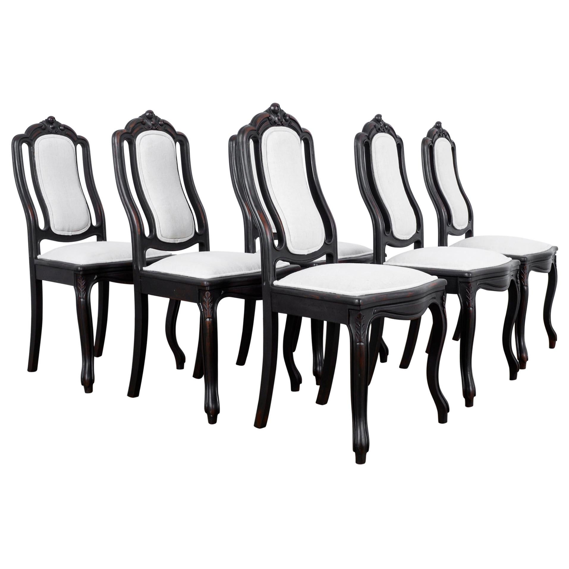 1900s French Upholstered Dining Chairs, Set of Six