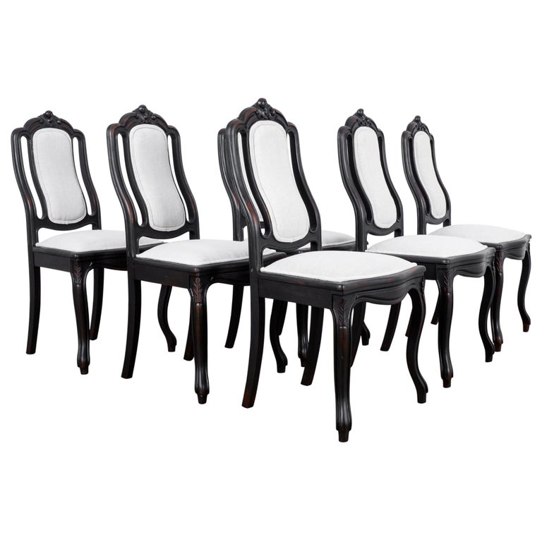 1900s French Upholstered Dining Chairs, Set of Six For Sale
