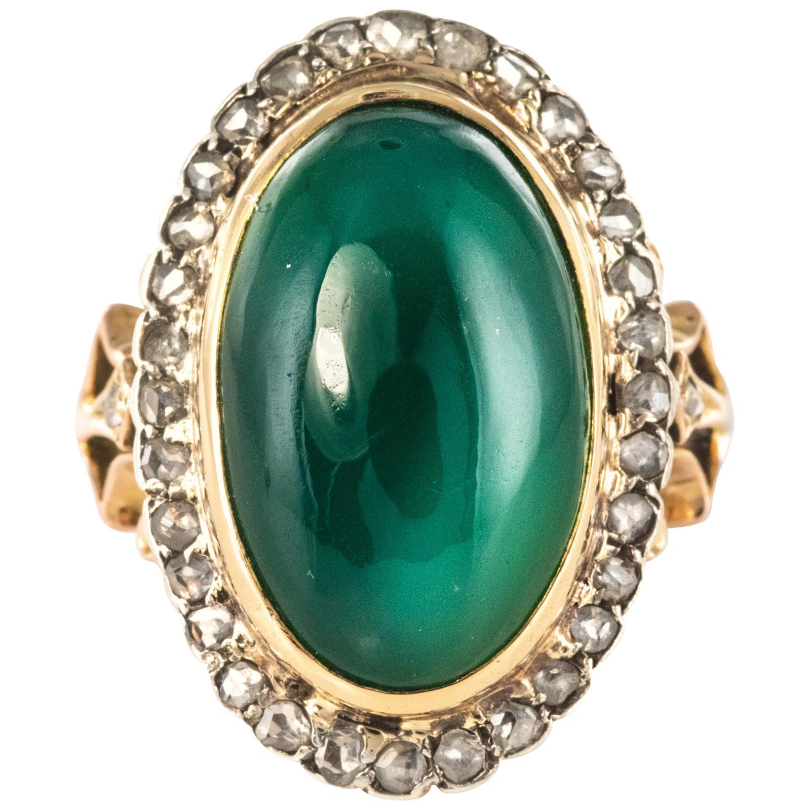 1900s Green Agate Rose-Cut Diamonds 18 Karat Rose Gold Ring
