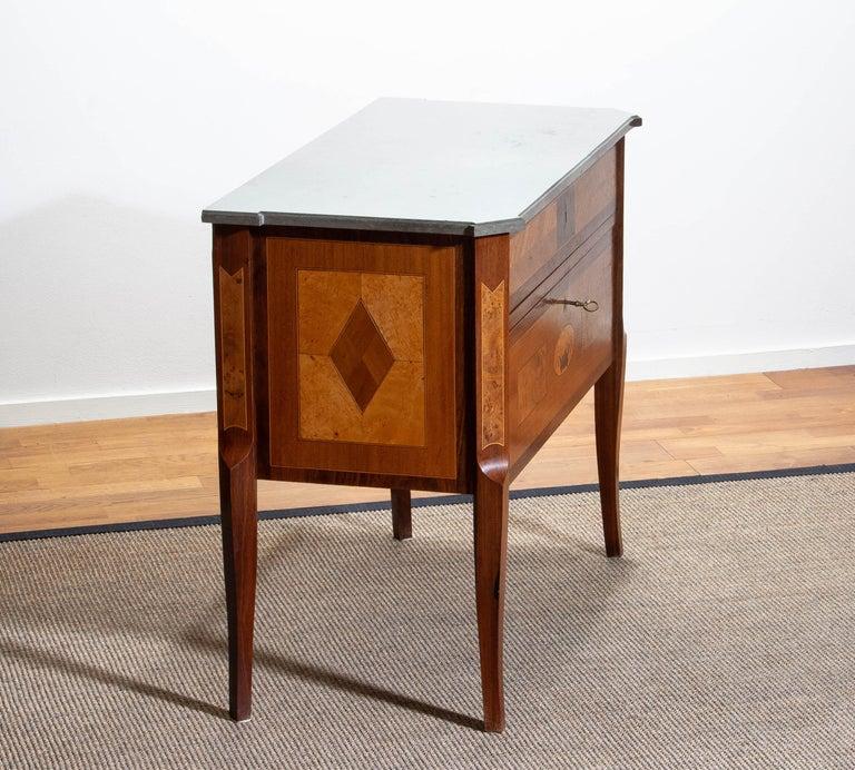 1900s, Gustavian Walnut Birch Fruits Mahogany Commode Dresser with Kolmarden Top 5
