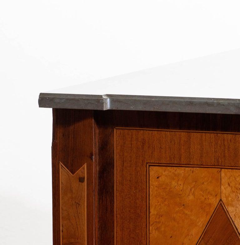 1900s, Gustavian Walnut Birch Fruits Mahogany Commode Dresser with Kolmarden Top 7