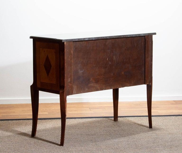 1900s, Gustavian Walnut Birch Fruits Mahogany Commode Dresser with Kolmarden Top 9