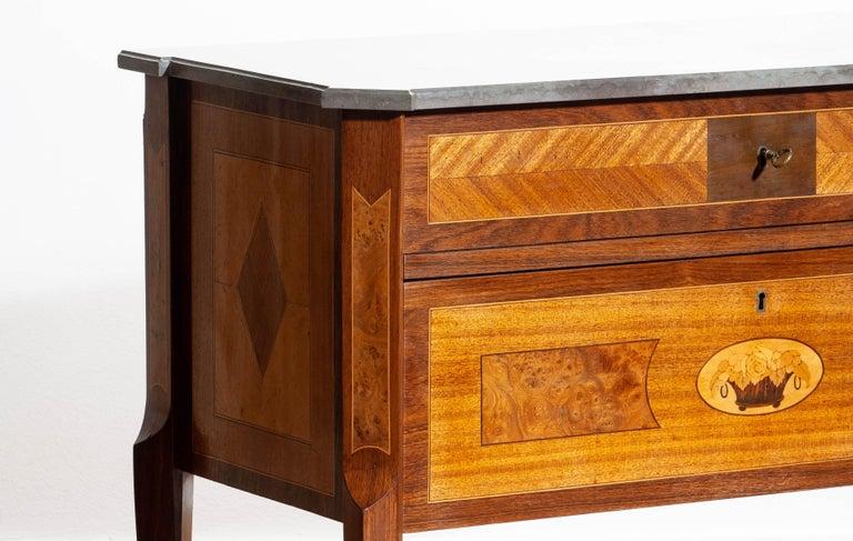 Swedish 1900s, Gustavian Walnut Birch Fruits Mahogany Commode Dresser with Kolmarden Top