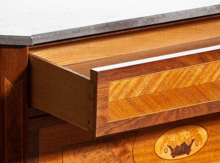 1900s, Gustavian Walnut Birch Fruits Mahogany Commode Dresser with Kolmarden Top 1