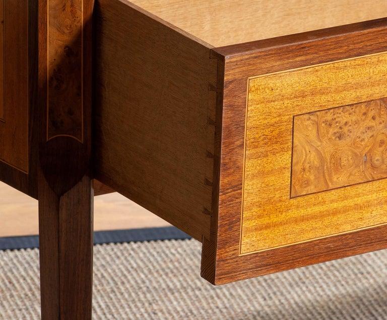 1900s, Gustavian Walnut Birch Fruits Mahogany Commode Dresser with Kolmarden Top 3