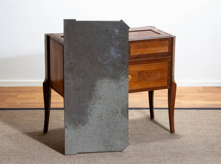 1900s, Gustavian Walnut Birch Fruits Mahogany Commode Dresser with Kolmarden Top 4