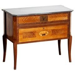 1900s, Gustavian Walnut Birch Fruits Mahogany Commode Dresser with Kolmarden Top