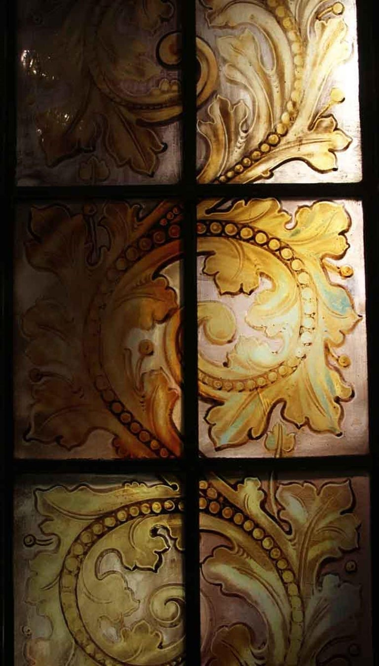 Rococo 1900s Hand Painted Amber Arched Top Stained Glass Window in Bronze Frame For Sale