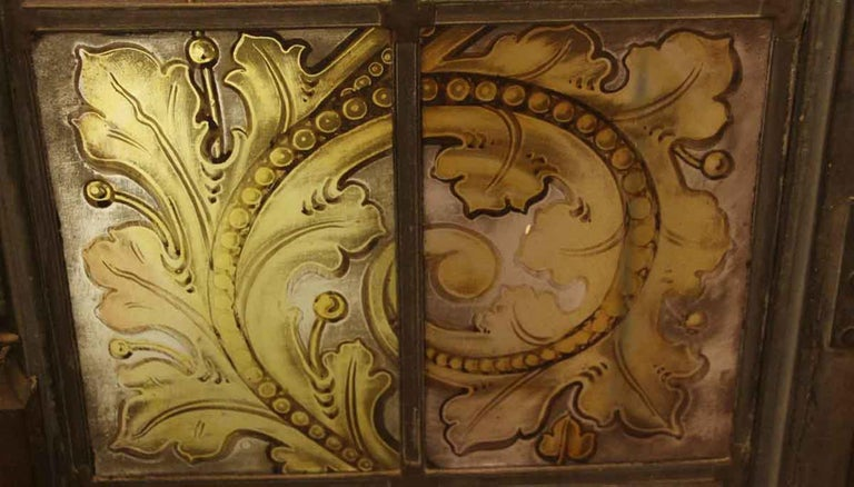 20th Century 1900s Hand Painted Amber Arched Top Stained Glass Window in Bronze Frame For Sale