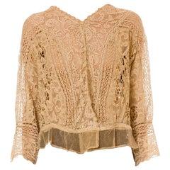 Edwardian Tan Cotton Exceptional Hand Made Antique Lace Blouse Xl