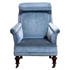 1900s, Ice Blue Velvet Dorothy Draper Style Bergère Lounge Club Chair 1