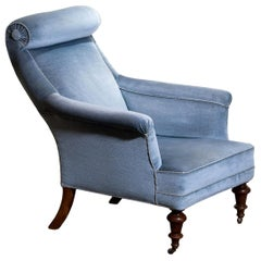 1900s, Ice Blue Velvet Dorothy Draper Style Bergère Lounge Club Chair