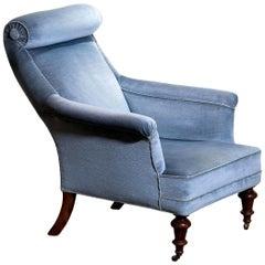 1900s, Ice Blue Velvet Dorothy Draper Style Bergère Lounge Club Chair