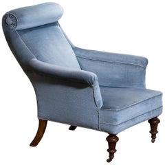 1900s, Ice Blue Velvet Dorothy Draper Style Bergère or Lounge Chair