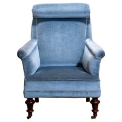 1900s, Ice Blue Velvet Dorothy Draper Style Bergère or Lounge Chair