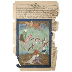 1900s Indian Drawing on Paper with Hunting Scenes and Text