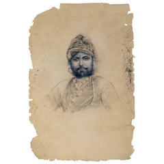 1900s Indian Portrait on Paper of Man with Turban
