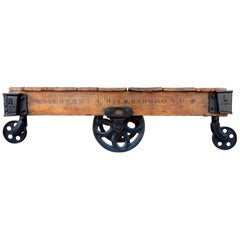 1900's Industrial Oak and Iron Mill Trolley Cart Coffee Table