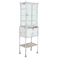 1900s Industrial Patinated Metal Vitrine