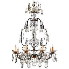 1900s, Iron and Crystal Chandelier