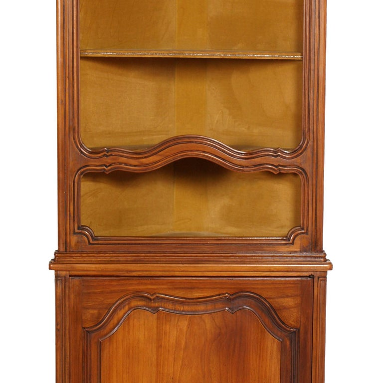 Baroque Revival 1900s, Italian Baroque Corner Cupboard Bookcase, Restored, Wax-Polished For Sale