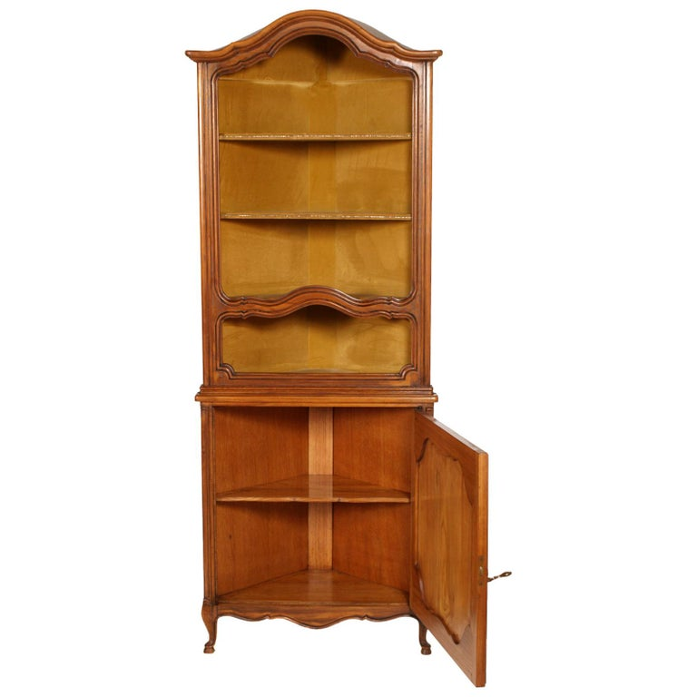 19th Century 1900s, Italian Baroque Corner Cupboard Bookcase, Restored, Wax-Polished For Sale