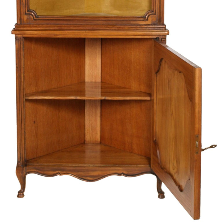Walnut 1900s, Italian Baroque Corner Cupboard Bookcase, Restored, Wax-Polished For Sale
