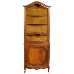1900s, Italian Baroque Corner Cupboard Bookcase, Restored, Wax-Polished
