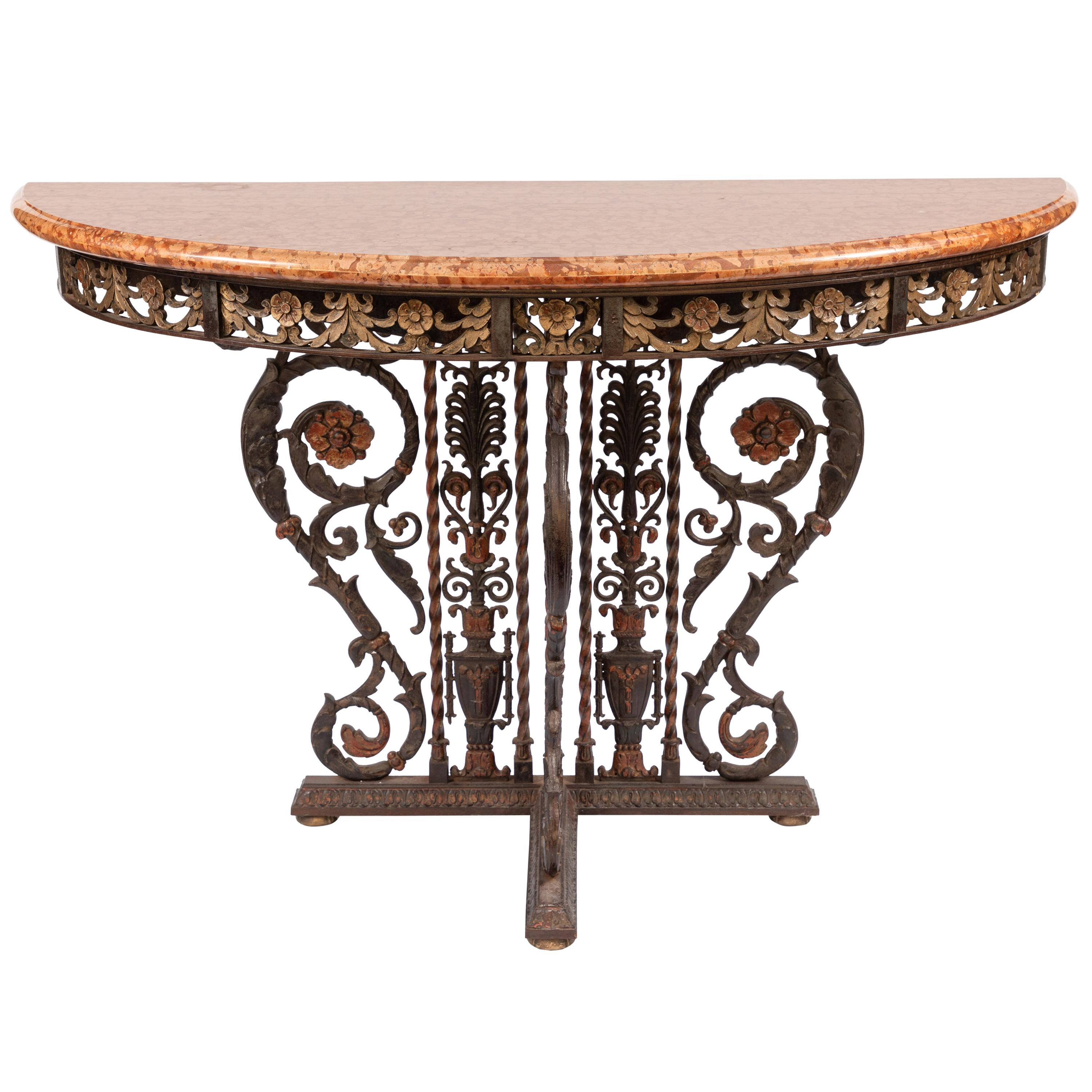 20th Century Italian Bronze and Iron Marble-Top Console
