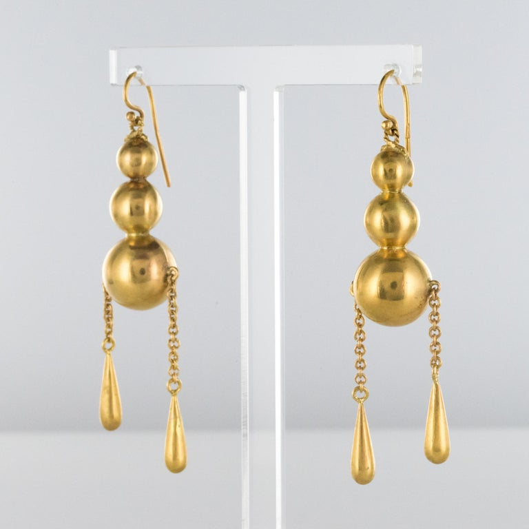 Belle Époque 1900s Italian Pearls Drops of Gold Dangle Earrings For Sale