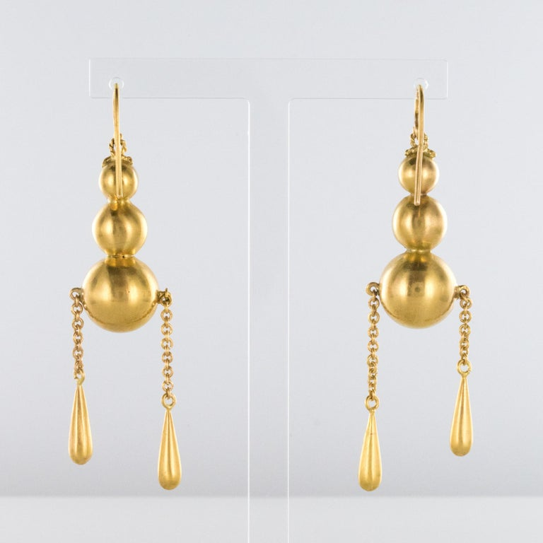 Women's 1900s Italian Pearls Drops of Gold Dangle Earrings For Sale