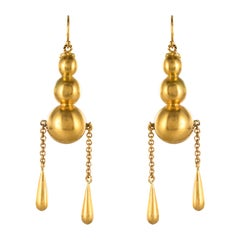 1900s Italian Pearls Drops of Gold Dangle Earrings