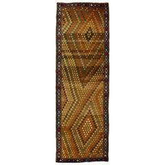 1900s Karabagh Blue, Red, Green and Rosy Beige Handmade Wool Runner