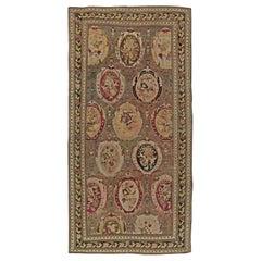 1900s Karabagh Dusty Rose Handmade Wool Carpet