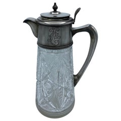 1900s Karl Fabergé Russian Silver and Crystal Pitcher
